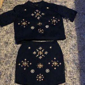 Embellished Skirt Set